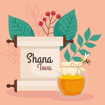 Celebração de rosh hashaná, ano novo judaico, com garrafa de mel, abelha voando e decoração de folhas