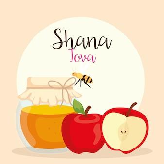Celebração de rosh hashaná, ano novo judaico, com garrafa de mel, maçãs e abelhas voando