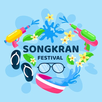 Celebração de songkran de design plano