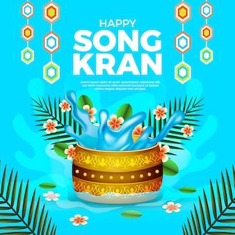 Celebração de songkran de estilo realista