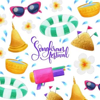 Celebração de songkran design aquarela