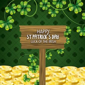 Celebração de st patrick com moedas de ouro e trevos