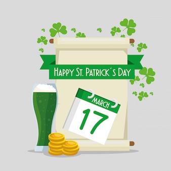 Celebração de st patrick com moedas e feriado do calendário