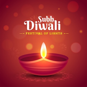 Celebração de subh diwali com lâmpada de óleo iluminada (diya)