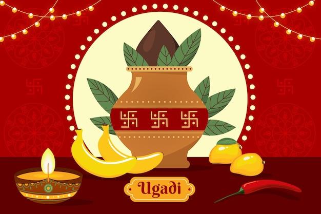 Celebração de ugadi com design plano ilustrado