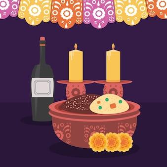 Celebração de velas de vinho