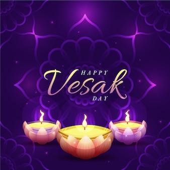 Celebração de vesak feliz design plano