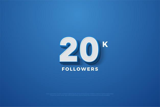 Celebração de vinte mil seguidores com número branco e linha azul no número