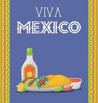 Celebração de viva méxico com garrafa de comida e tequila