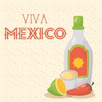 Celebração de viva méxico com garrafa de tequila