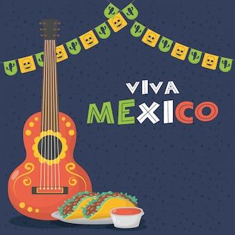 Celebração de viva méxico com guitarra e tacos