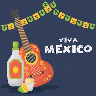 Celebração de viva méxico com guitarra e tequila