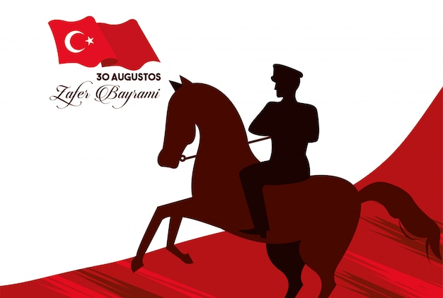 Celebração de zafer bayrami com o soldado no cavalo e desenho de ilustração vetorial de bandeira