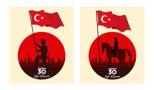 Celebração de zafer bayrami com soldados no cavalo acenando bandeiras ilustração vetorial design