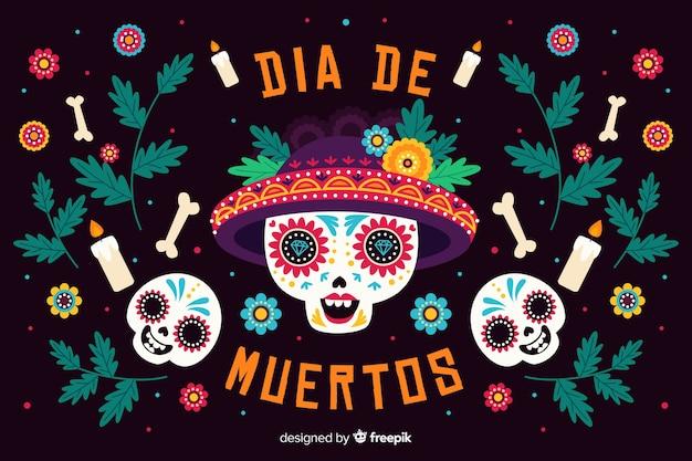 Celebração design plano dia de muertos