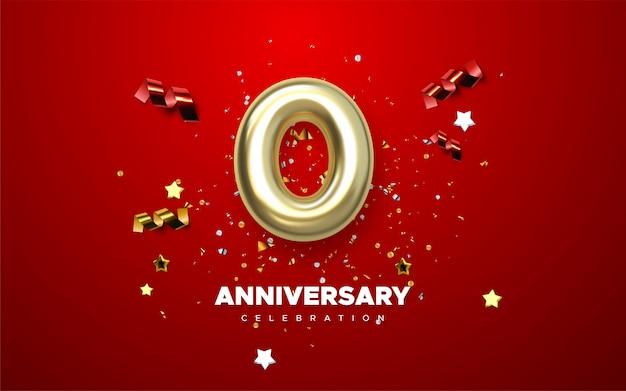 Celebração do 0º aniversário. números dourados com confetes brilhantes, estrelas, brilhos e fitas de serpentina. ilustração festiva. sinal 3d realista. decoração de festa