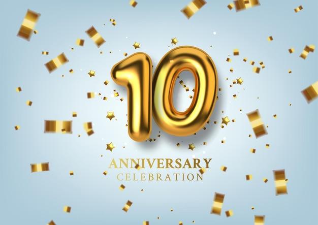 Celebração do 10º aniversário número na forma de balões dourados.