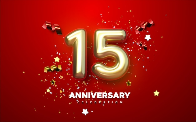 Celebração do 15º aniversário. dourado número 15 com espumante confete, estrelas, brilhos e fitas serpentinas. ilustração