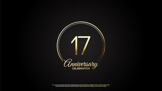 Celebração do 17º aniversário com dígitos de ouro com círculos de glitter.