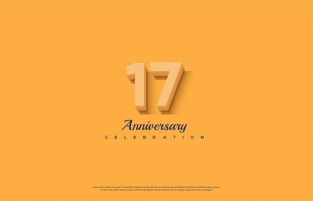 Celebração do 17º aniversário com laranja números 3d em um fundo laranja.