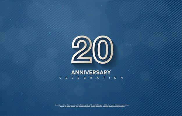 Celebração do 20º aniversário com finos números brancos sobre um fundo azul.
