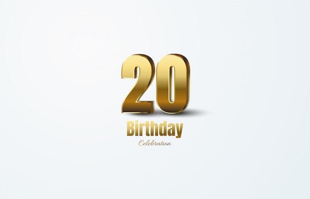 Celebração do 20º aniversário com ilustração 3d de números dourados.