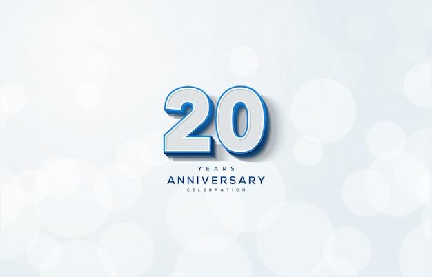 Celebração do 20º aniversário com ilustração de números 3d brancos.