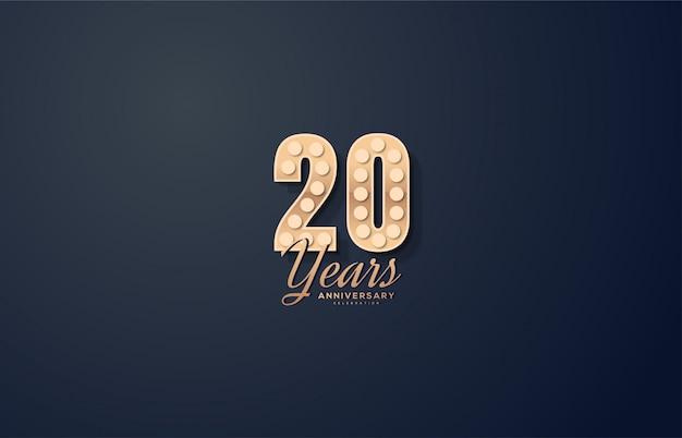 Celebração do 20º aniversário com ilustração de números e lâmpadas em números.