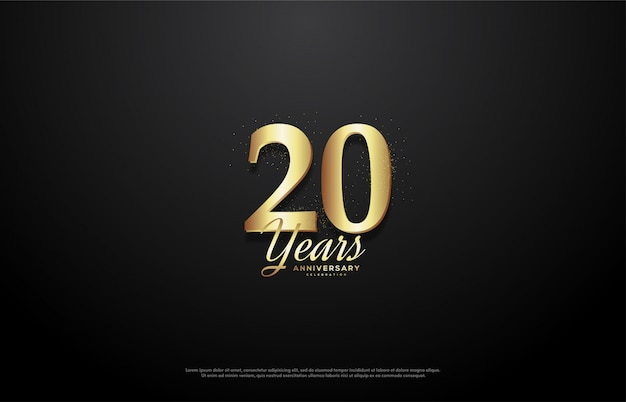 Celebração do 20º aniversário com ilustração de números em ouro brilhante.