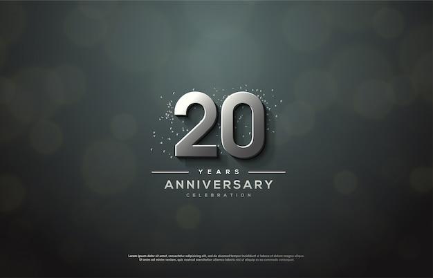 Celebração do 20º aniversário com números 3d de prata elegantes e luxuosos.