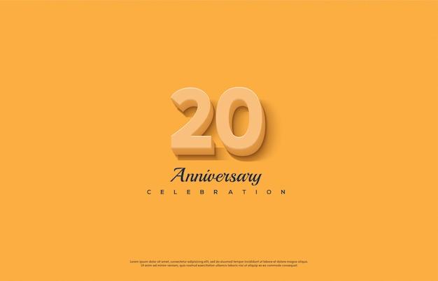 Celebração do 20º aniversário com números 3d laranja.
