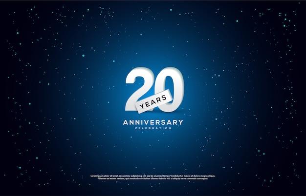 Celebração do 20º aniversário com números brancos 3d em fundo escuro.