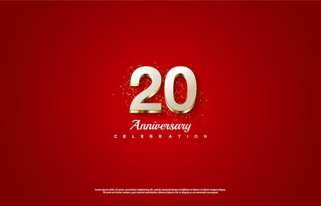 Celebração do 20º aniversário com números brancos e linhas douradas.