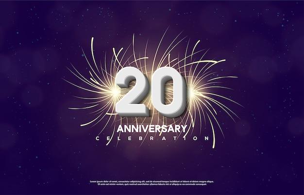 Celebração do 20º aniversário com números brancos sobre um fundo claro de fogo de artifício. Vetor Premium