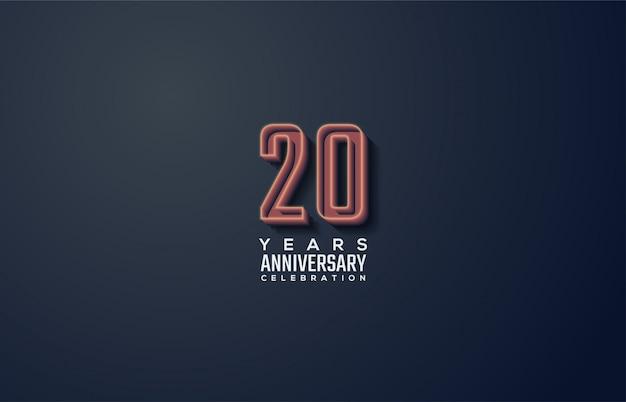 Celebração do 20º aniversário com números de linha 3d em fundo preto.