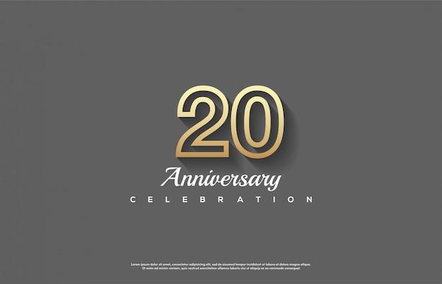 Celebração do 20º aniversário com números de linha de ouro 3d.