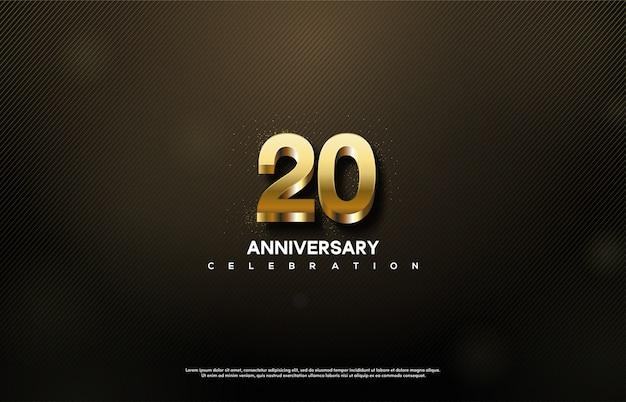 Celebração do 20º aniversário com números de ouro 3d.