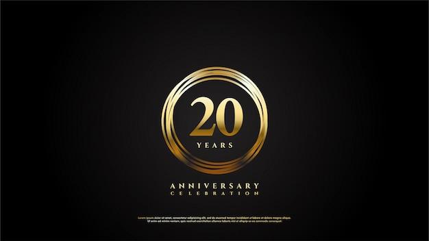 Celebração do 20º aniversário com números dourados e círculos de ouro finos.