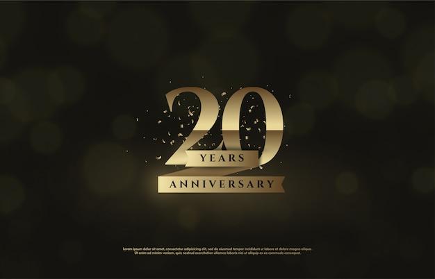 Celebração do 20º aniversário com números dourados e fitas douradas.