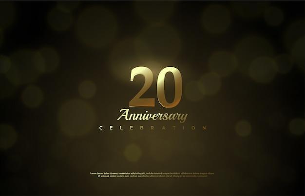 Celebração do 20º aniversário com números dourados sobre um fundo preto acastanhado. Vetor Premium