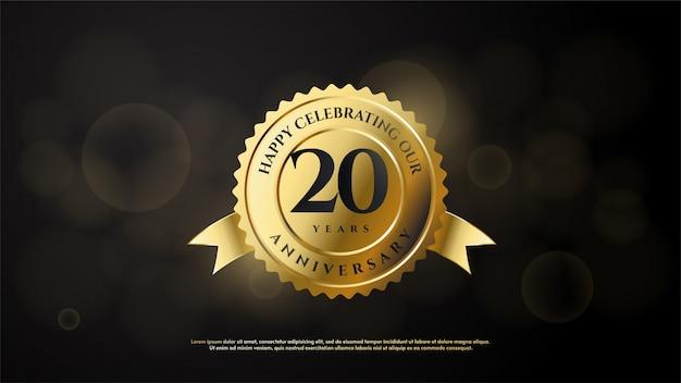 Celebração do 20º aniversário com números e emblemas de ouro.