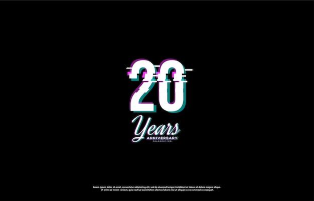 Celebração do 20º aniversário com números fatiados da íris.