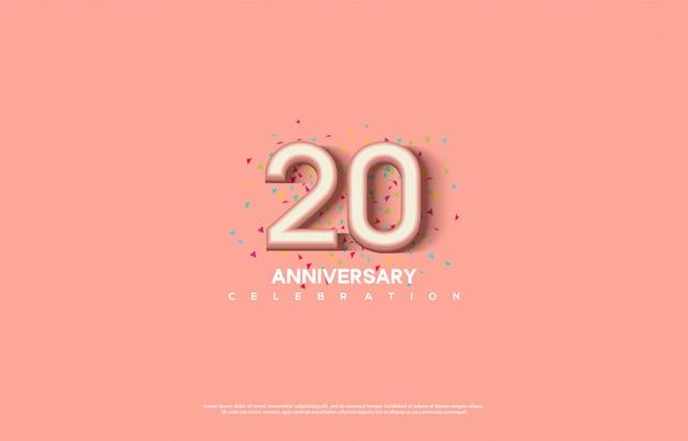 Celebração do 20º aniversário com números femininos 3d rosa.