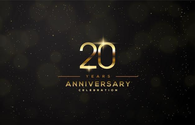 Celebração do 20º aniversário com números finos de ouro.