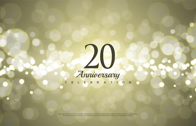 Celebração do 20º aniversário com números pretos clássicos. Vetor Premium