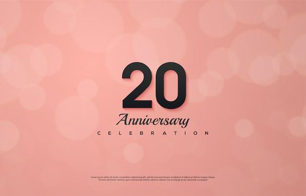 Celebração do 20º aniversário com números pretos em um fundo rosa.