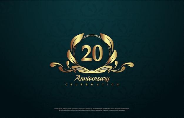 Celebração do 20º aniversário com uma ilustração do número dourado dentro do emblema.