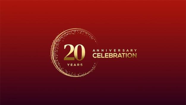 Celebração do 20º aniversário em números dourados com glitter dourados.
