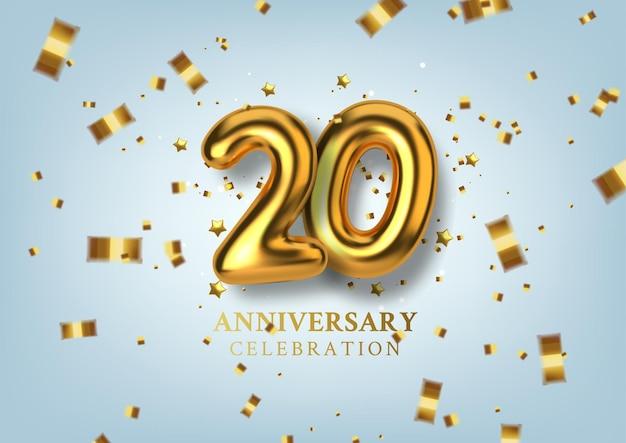 Celebração do 20º aniversário número na forma de balões dourados.