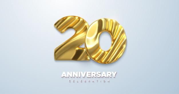 Celebração do 20º aniversário. números dourados